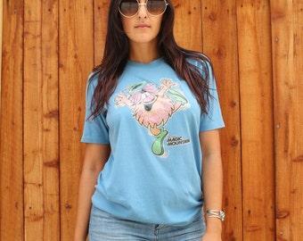 Vintage Magic Mountain Blue Size Medium Sportswear Brand Unisex T-shirt Six Flags Iron On Style