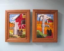 Vintage Yarn Crewel Embroidery Framed Wall Art Vintage Country Farm Decor Milk Jug Bucket Barn