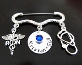 Registered Nurse RN Medical Stethoscope Handstamped Graduation Gift Personalized Birthstone Pin - Nurse Pin - RN Pin - Pinning Ceremony