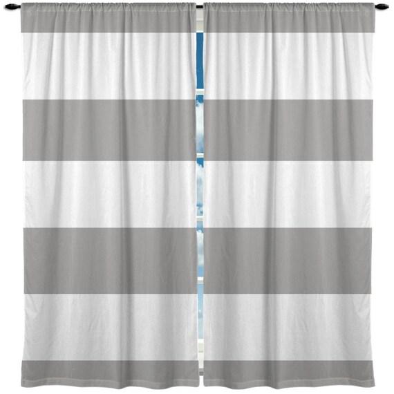 Curtain bold horizontal stripe silver grey 47x87 inch panels on