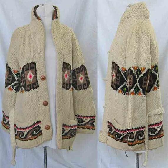 Vintage 1960 мексиканский рук вязать кардиган свитер