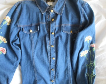 Vintage Denim Embroidered Bob Mackie Shirt.