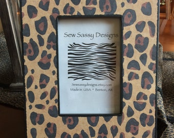 Classic Leopard Animal Print Wooden Picture Frame