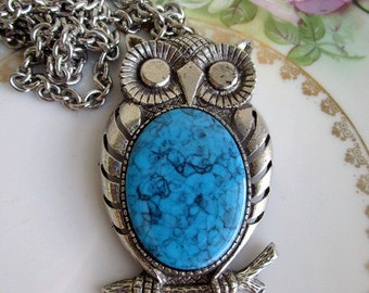 Vintage Large Silvertone Owl Pendant Faux lucite turquoise belly Stone