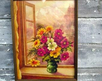 Art Deco Print Still Life Vase of Yellow Purple Daisies Bright Colors