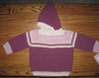 Hand Knit Hooded Sweater Zip Up The Back Hoodie - Size 6 - 12 Months Dark Rose Pink Free US Shipping