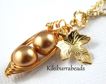 Peapod Necklace - Two Peas In a Pod Gold Necklace Gold Swarovski Pearls Or Choose Your Color
