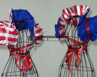 4th of July Captain America Reversible Collar Bolero Shrug Wrap Cosplay Avengers Marvel Heroes
