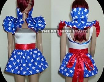 4th of July Reversible Cosplay Wonder woman Shoulder Collar shrug wrap burlesque set Clown Spaulding dance costume