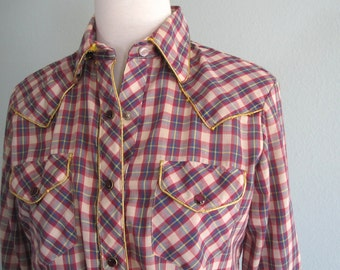 LAST CHANCE CLEARANCE Vintage Western Shirt - Country Glam 80s Avante West Red Plaid Rodeo Shirt - Vintage 1980s Country Western Shirt M