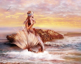 SALE Sunbathing, Art Print 11 x 14 inch, Mermaid Illustration
