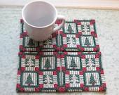 country christmas blocks set of mug rugs