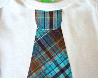 CLEARANCE 70% OFF Blue Plaid Tie appliqué on Sky Blue LONG Sleeve top,  baby, boy tie t-shirt, boys t-shirt, toddler boy clothing, boys tie