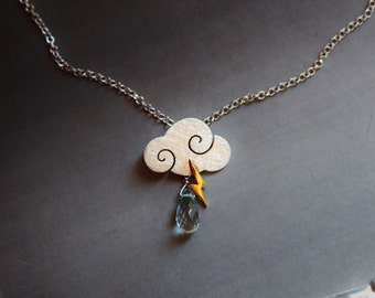 """SWEET CLOUDS - Necklace """"sweet clouds"""" in satin sterling silver with blue topaz drops and lightning"""