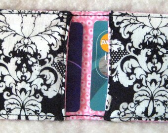 Black and White Damask with pink dots inside, handbags,wallets,RFID