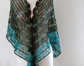 Shawl Wrap, Crochet, Blue Stripes, Green, Brown, Ginger, Wool, Lace