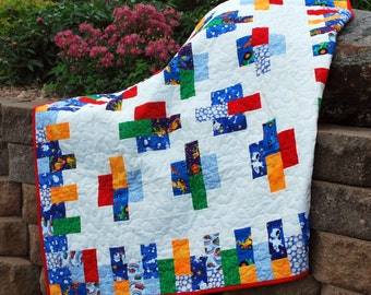 Cotton Handmade Quilt Snips and Snails Modern boy nap quilt 54 by 66