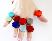 Stackable Glass Rings Neon Spring Fashion - bold rings, handmade rings,  adjustable cocktail rings - PETITE - 3 RING Sampler - 0.9 inch