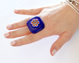 Boho Ring, Glass Ring, Statement Ring  -  Summer celebrations, handmade ring, fused glass ring, statement ring , Studioleanne