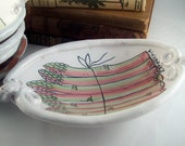 Majolica ceramic oval bowl - hand made gifts - karen baker - hand painted asparagus pottery dish - decorative gifts - serving bowl