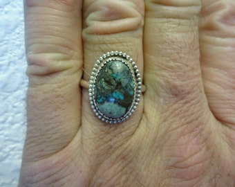Western Sterling Silver Morenci Turquoise Ring - Size 9 - FREE RESIZING