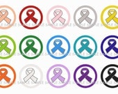 INSTANT DOWNLOAD...Awareness Ribbons.... 1 Inch Circle Images Collage Sheet for Bottle Caps ...Buy 3 get 1