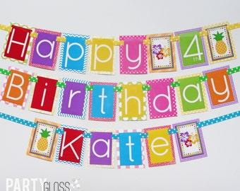 Hawaiian Luau Birthday Party Banner Decorations Fully Assembled | Tropical Birthday | Beach Birthday | Summer Birthday | Fun in the Sun |