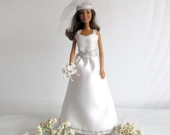 Barbie Bridal Set - OOAK Bride Gown in Art Deco Style Gown + Veil + Bouquet Barbie Handmade