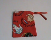 "Small Red ""Cup of Kindness"" Drawstring Pouch"