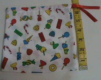 White with Ice Cream Candy and Gun in Lively Colors Drawstring Pouch