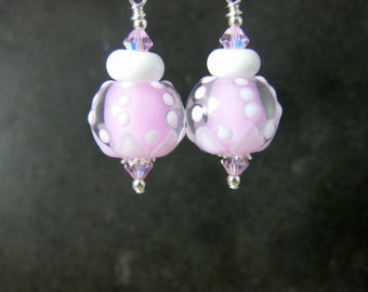 Light Pink & White Earrings, Pastel Earrings, Cute Earrings, Pink Glass Earrings, Lampwork Earrings, Gift for Her, Mother's Day Jewelry