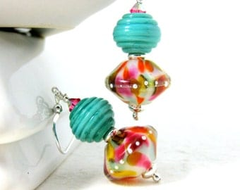 Colorful Glass Dangle Earrings, Turquoise Pink Orange Earrings, Lampwork Earrings, Summer Brights, Fun Earrings, Colorful Jewelry, Tropical