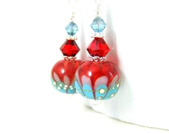 Red Pink Blue Flower Earrings, Lotus Earrings, Botanical Earrings, Colorful Floral Earrings Dangle Earrings Lampwork Earrings Nature Jewelry