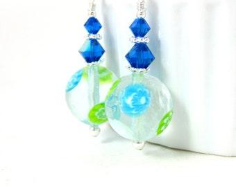 Murano Earrings, Aqua Blue Green White Earrings, Simple Earrings, Summer Earrings, Silver Dangle Earrings Glass Drop Earrings Murano Jewelry