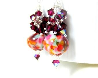 Ruby Red Crystal Dangle Earrings, Pink Purple Red Mint Earrings, Colorful Glass Earrings, Lampwork Earrings, Summer Earrings, Bright Colors