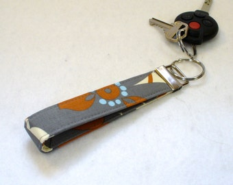Wristlet Key Fob Amy Butler Fabric Morning Glory Slate Gray Blue Rust Key Chain Key Ring Fabric Keyring