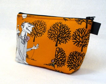 Ghastlies Fabric Large Cosmetic Bag Zipper Pouch Padded Makeup Bag Cotton Zip Pouch Alexander Henry Ghastlys Orange Black Halloween Gaspar