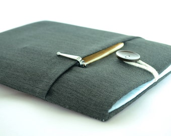 """12"""" MacBook Case, MacBook Pro Sleeve MacBook Air Case, 11"""" MacBook Air Sleeve to 15.4"""" MacBook Case Padded Cover, Pocket, Herringbone"""
