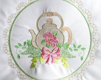 Machine Embroidery Design-Tea Time #04 with 3 sizes Included!