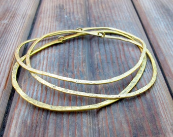 River Rock Bangle Trio - Brass Bangles - Artisan Tangleweeds Jewelry