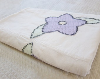 FLORAL applique SUMMER bedspread 1920s feedsack sugarsacks. Farmhouse, prim, shabby chic cottage.
