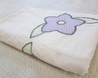 FLORAL applique SUMMER bedspread 1920s, vintage bedspread,  feedsack sugarsacks. Farmhouse decor, prim, shabby chic cottage.h