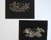 Chariot stampings, LARGE 5+ inch Brass metal plaque, gold tone jewelry finding or collage material