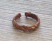 Vintage Copper Brass Ring, Boho Ring, Toe Ring, Unisex Ring, Twist Rope Ring Band, Adjustable For Sizes 6-8