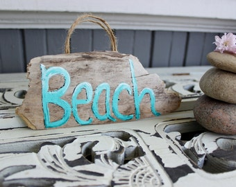 Handmade Driftwood Beach Sign , Hand Painted Aqua Ombre Coastal Decoration