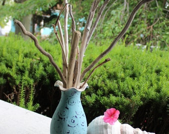 Beach House Decor , Driftwood Branches in Hand Painted Pottery Vase , Coastal Chic Home Decorating