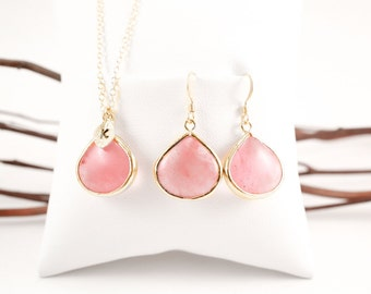 Bridesmaid Jewelry Set Coral Pink Large Teardrop Gold Necklace and Earrings Set
