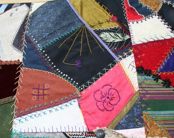 Beautiful, Bold and Bright Handmade Crazy Quilt Throw