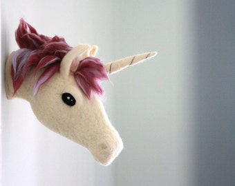 Unicorn Wall Mount, Mulberry Purple Mane Unicorn Wall Hanging, Faux Taxidermy, Felted Wool Unicorn