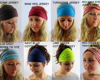 Yoga Headband head Scarf Choose Any Three - COTTON JERSEY Stretch Wide Workout Headband or Jersy Twist Headband Running Headband Head Wrap